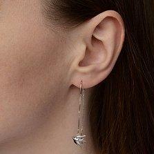 Серебряные двусторонние серьги-протяжки Полет ласточки