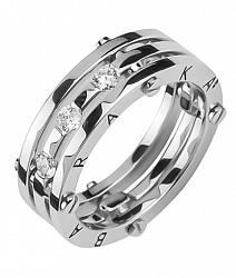 Золотое обручальное кольцо Счастливый союз в белом цвете в стиле Барака с бриллиантами