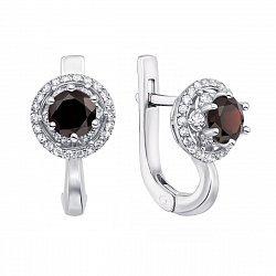 Серебряные серьги с гранатами и фианитами 000133209