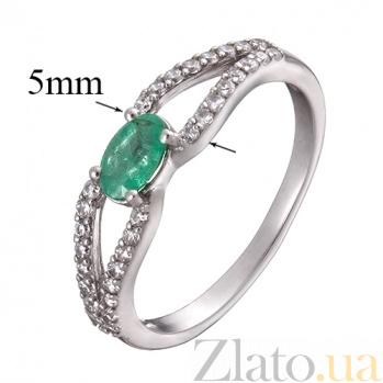 Серебряное кольцо с изумрудом и фианитами Барбарис 1625/9р изум