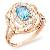 Кольцо из золота с голубым топазом Облака