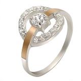 Серебряное кольцо с золотой вставкой и цирконием Орбита