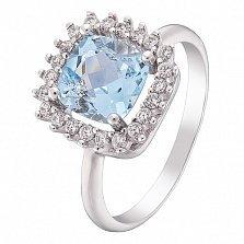 Серебряное кольцо Кассия с топазом и фианитами