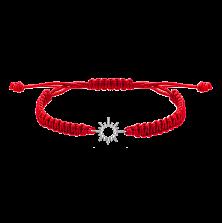 Детский плетеный браслет с cеребряной вставкой Солнышко 11-11см