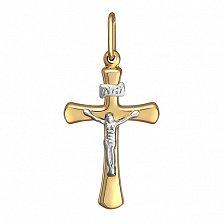 Золотой крестик Скромный минимализм в желто-белом цвете металла