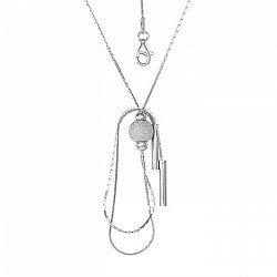 Серебряное колье с цепочками-подвесками 000025918