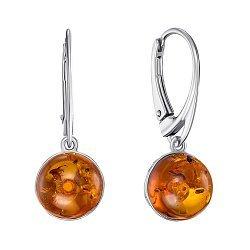Серебряные серьги с янтарем 000146458