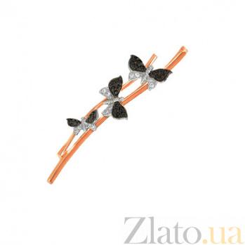 Золотая брошь с черно-белыми фианитами Бабочки VLT--ЕЕ434-4