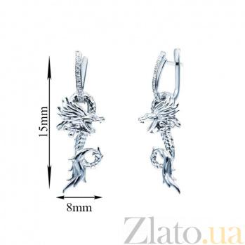 Серебряные серьги с фианитами Дракон 000027111
