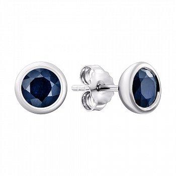 Серебряные серьги-пуссеты с сапфирами 000137259