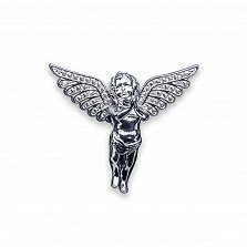 Кулон из серебра Сияющий ангел с бриллиантами