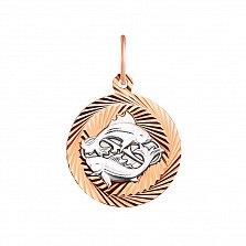 Золотой кулон Рыбы в комбинированном цвете с алмазной гранью