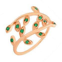 Позолоченное серебряное кольцо Лавр с зелеными фианитами