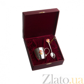 Серебряный столовый набор Львенок из чайной ложки и чашки 100мл 2.8.0167 2.91.0087