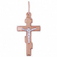 Золотой крестик Вера в комбинированном цвете