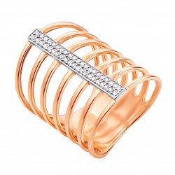 Кольцо на всю фалангу Гейл в красном золоте с фианитами