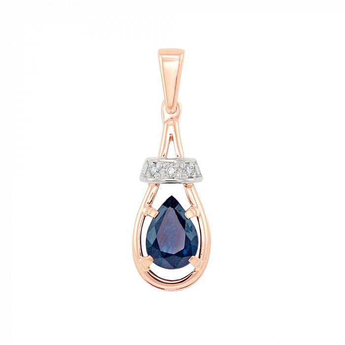 Золотой кулон Синий бархат в комбинированном цвете с сапфиром и бриллиантами VLA--33061