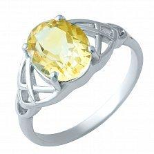 Серебряное кольцо Медовое лето с цитрином
