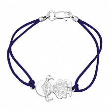 Шелковый браслет Девочка с серебряной вставкой и фианитами