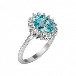 Серебряное кольцо Пелагея с топазом и фианитами