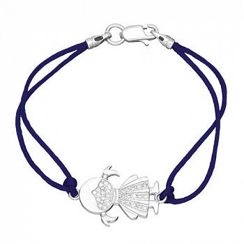Шелковый браслет Девочка с серебряной вставкой и фианитами 000055127