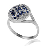 Серебряное кольцо с синими кристаллами Оберег