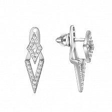 Серебряные пуссеты-джекеты Ромбики с цирконием
