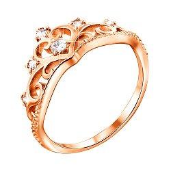 Кольцо-корона из красного золота с фианитами 000115588