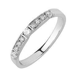 Кольцо обручальное в белом золоте с фианитами 000011299