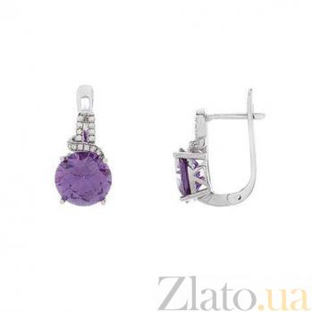 Серьги из серебра с фиолетовым цирконием Таис AQA--R0632-1EA