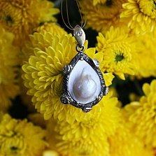 Серебряный подвес с мазерперлом и цирконием Ариель