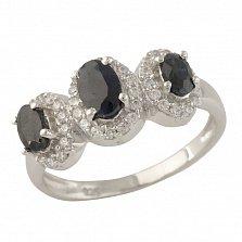 Серебряное кольцо Робертина с синим сапфиром и фианитами