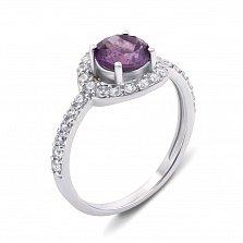 Серебряное кольцо с аметистом и фианитами Янина