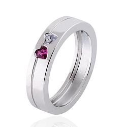 Обручальное кольцо Hearts с бриллиантом и рубином