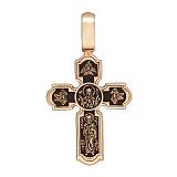 Золотой крест Крепкая Вера с чернением