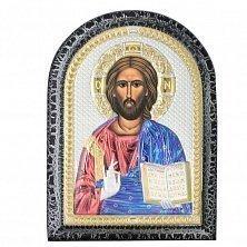 Икона на деревянной основе Иисус Христос Спаситель с позолотой и эмалью микс, 14х19