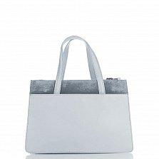 Кожаная деловая сумка Genuine Leather 8914 голубого цвета на молнии, с декоративной кистью