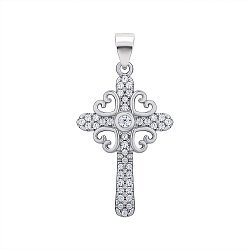 Серебряный декоративный крестик с фианитами 000147351