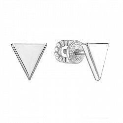 Серебряные серьги-пуссеты с родированием в стиле геометрия 000133526