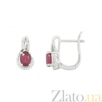 Серебряные серьги с рубинами и фианитами Джастина 3С846-0467