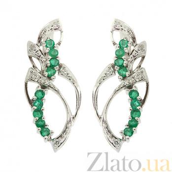 Серебряные серьги с бриллиантами и изумрудами Лара ZMX--EDE-6187-Ag_K