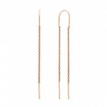 Золоті сережки-протяжки Равенна в червоному кольорі в стилі мінімалізм