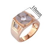 Золотое кольцо-печатка с фианитами Стефан