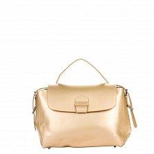 Кожаная деловая сумка Genuine Leather 8838 золотистого цвета на молнии и магнитной кнопке