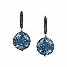 Серьги-подвески из белого золота Беатриса с голубыми бриллиантами и топазами