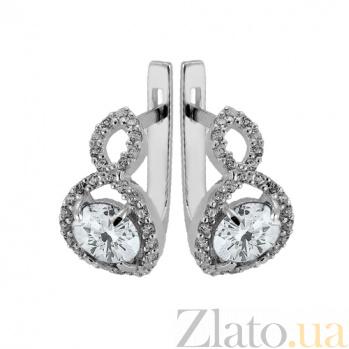 Серебряные серьги с белым цирконием Танго Танго с/бел цир