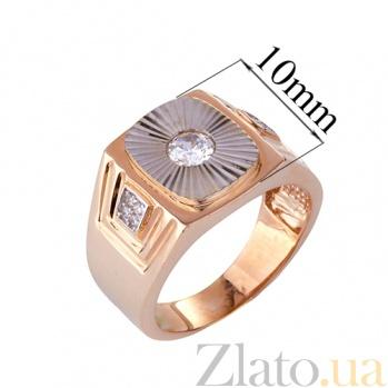 Золотое кольцо-печатка с фианитами Стефан ONX--к00908