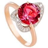 Золотое кольцо Элегия с корундом и фианитами