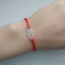 Шёлковый браслет с серебряной вставкой Хамса