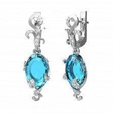 Серебряные серьги-подвески Карина с голубым кварцем и фианитами